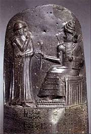 Amraphel/Hammurabi receiving the 'Code of Hammurabi' from Shamash
