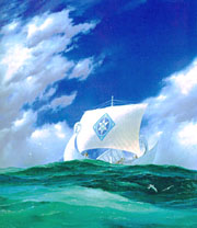 E�rendil sailing the elven ship Vingil�t� to Aman with the Silmaril, seeking help from the Valar